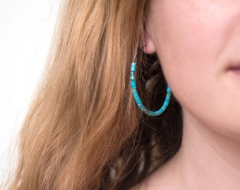 Beaded Turquoise Hoops, Bohemian Turquoise Hoop Earrings, Large Hoops, Oxidized Silver Earrings, Charm Hoops, Statement Earrings, Summer