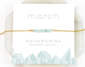 March Birthstone Necklace - Inspirational Aquamarine Crystal Bar Necklace, Healing Gemstone Gift, Dainty Necklace, Birthday Present, NK-DB