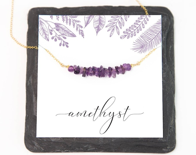Featured listing image: Raw Amethyst Gem Bar Necklace, February Birthstone Gift Jewelry, Ultra Violet Gift, Semi-Precious Stone, Friend Gift, Healing Jewelry, NK-RB