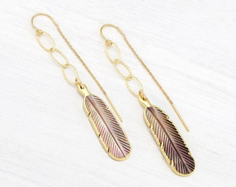 Boho Feather Threaders, Southwestern Dangle Earrings, Abalone Shell Summer Jewelry Trends, Statement Festival Earrings, Long Chain Drop Gift