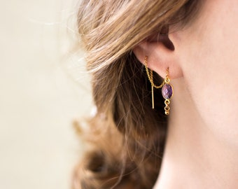 Tiny Crystal Drop Threaders, Purple Amethyst Earrings, February Birthstone Gift, Two Piercing Thread Through, Bridesmaid Front Back Earrings