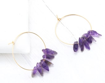 Amethyst Earrings Raw, Birthstone Hoop Earrings, February Birthday Gift, Large and Small Hoops, Healing Crystal Jewelry, Raw Stone, HP-RC