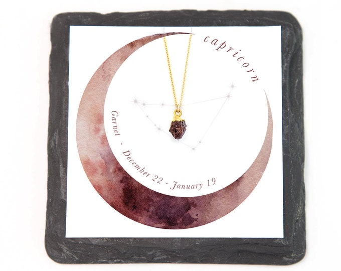 Featured listing image: Capricorn Necklace, Garnet Necklace Gold, Stone Charm Necklace, January Birthstone Gift, Genuine Gemstone Jewelry, Healing Crystal, NK-N