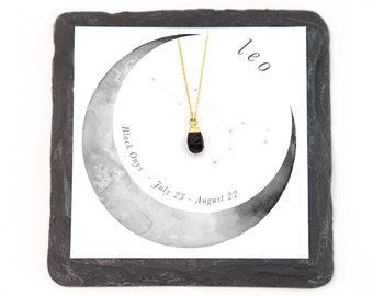 Black Onyx Necklace, Leo Zodiac Necklace, Raw Black Stone Pendant, Dainty Chain, Layering Necklace, Celestial Gift, BFF Gifts, NK-N