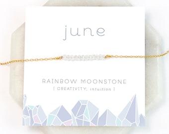 June Birthstone Necklace, Rainbow Moonstone Necklace Silver, Birthday Present, Raw Moonstone Choker, Healing Gemstone, NK-DB