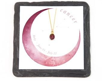 Cancer Zodiac Necklace, Tiny Raw Crystal Necklace, Natural Ruby Gemstone, Constellation Necklace, Birthstone Jewelry, Best Friend Gift, Boho