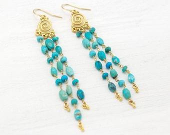 Turquoise Dangle Earrings, Boho Statement Earrings Gold, Long Beaded Tassel, Natural Gemstone, December Birthstone Jewelry Festival Earrings