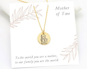 Mother of Two Necklace, Inspirational Jewelry Keepsake Gift for Her, Mother's Day Jewelry, Meaningful Engraved Necklace, Gold Disc Charm
