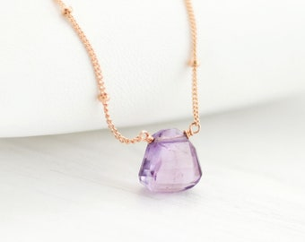 Genuine Amethyst Necklace, Rose Gold Satellite Chain, February Birthstone Necklace, Layering Necklace, Tiny Crystal Drop, Wire Wrap, NK-ST