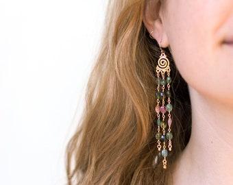Tourmaline Statement Earrings, Boho Beaded Earrings, Watermelon Multi Tourmaline, Dangle and Drop, Long Rosary Chain, Bohemian Jewelry Gifts