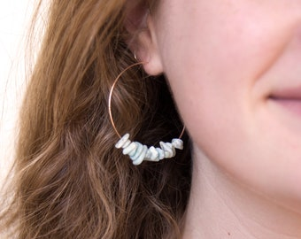 Boho Gemstone Hoops, Rose Gold Hoop Earrings, Larimar Earrings, Raw Gemstone Earrings, Festival Earrings, Beach Wedding, Bridesmaid Gifts