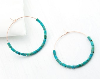 Rose Gold Turquoise Hoop Earrings, Colorful Hoop Earrings, Blue Statement Earrings, Bridesmaid Gift Earrings, Genuine Turquoise Hoops, HP-DB
