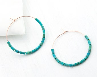Rose Gold Turquoise Hoop Earrings, Colorful Hoop Earrings, Blue Statement Earrings, Bridesmaid Gift Earrings, Genuine Turquoise Large Hoops