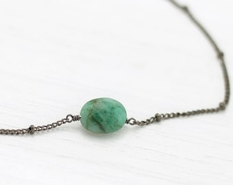 Genuine Raw Emerald Pendant Necklace, May Birthstone, Gemini Zodiac Gift, Natural Raw Gemstone, Gift for Girlfriend, Small Emerald Choker