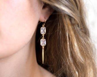 Crystal Drop Earrings, Modern Bridal Jewelry, Clear Stone Earrings, Diamond Earring, Bridal Earrings, Bridesmaid Gift, Occasion Jewelry Gift