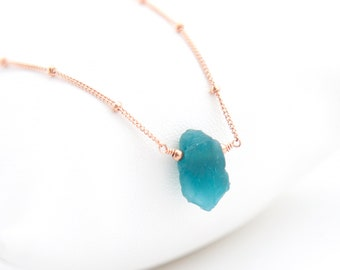 Raw Crystal Necklace, Rose Gold Satellite Chain, Bridesmaid Gift Necklace, Something Blue for Bride, Genuine Gemstones, Neon Apatite, NK-ST