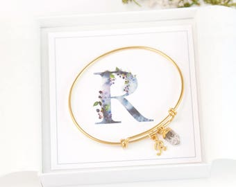 Birthstone Initial Charm Bracelet, Dainty Initial and Birthstone Bangle, Personalized Gift for Friend, Best Friend Gift, Stone Charm