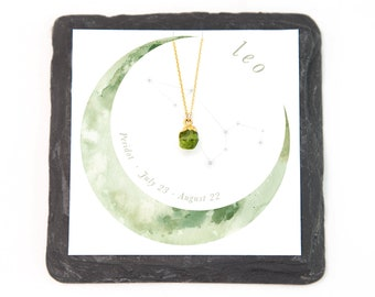 Zodiac Necklace Gift, Leo Necklace, Tiny Peridot Necklace, August Birthday Gift, Celestial Gift for Her, Raw Crystal Healing Pendant, NK-N
