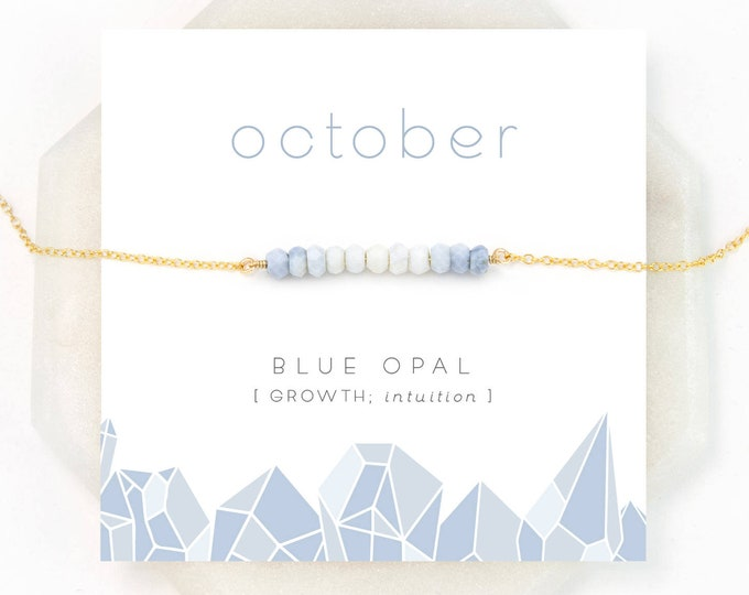 Featured listing image: Ombre Blue Opal Necklace, October Birthstone, Natural Opal, Birthday Gift, Bar Necklace, Dainty Necklace, Beaded Bar, Pastel Necklace, NK-DB