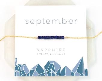 September Birthstone Necklace, Sapphire Bar Necklace, Layering Necklace, Raw Crystal Necklace, Blue Sapphire, Gift for Girlfriend, NK-DB