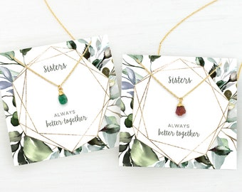 Necklace Gift Set for Sisters, Stocking Stuffer for Sisters, Holiday Gift Set, Sorority Sisters, Raw Gemstone Necklace, Set of 2 Necklaces