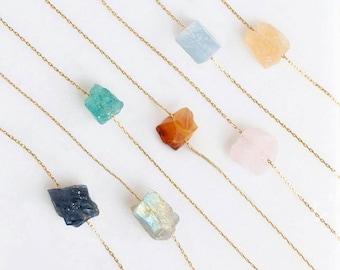 Natural Crystal Necklace Gifts for Her \u2022 Sparkling White Purple Blue Druzy Necklace \u2022 DN729 Rectangle Druzy Quartz Bar Necklace gold filled