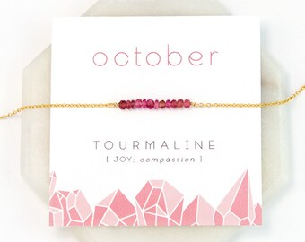 October Birthstone Necklace, Pink Tourmaline Bar Necklace, Tiny Stone Necklace, Pink Gemstone, Rose Gold Choker, Healing Jewelry, NK-DB