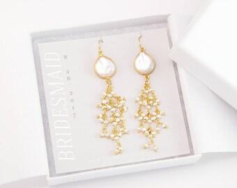 Bridesmaid Gift, Organic Pearl Earrings, Dangle Freshwater Pearl Earrings, Modern Bride, Gift for Her, Gold Tassel Earrings, Bridal Jewelry