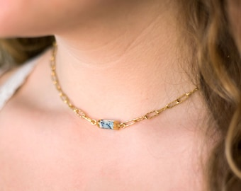 Statement Chain, Stone Choker, Festival Jewelry, Chunky Chain Necklace, Thick Gold Choker, Boho Layering Necklace, Gift for Daughter, Summer