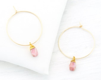Pink Opal Earrings Gold, Bridesmaid Earrings, Summer Wedding Jewelry, Thin Gold Hoops, Pink Stone Drop Hoop Earring, Raw Gemstone, HP-N