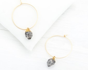 Dainty Raw Diamond Hoops, Herkimer Diamond Earrings Dangle, Modern Bridesmaid Earrings, Thin Hoop Earrings Gold, Tiny Gemstone Hoops, HP-N