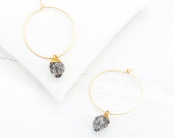 Dainty Raw Diamond Hoops, Herkimer Diamond Earrings Dangle, Modern Bridesmaid Earrings, Thin Hoop Earrings Gold, Tiny Gemstone Charm Hoops