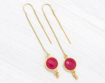 Pink Statement Earrings, Delicate Fuchsia Chalcedony Threaders, Round Stone Drop, Chain Dangle, Thread Through Piercings, Summer Earrings