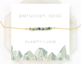 Green Opal Necklace, Sage Green Necklace, Healing Gemstone Gift, Dainty Bar Necklace, BFF Gifts, Gemstone Choker, Peruvian Opal, Boho Gift