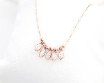 Rose Gold Charm Necklace, Cubic Zirconia Pendant Necklace, Beaded Bar Necklace, Dainty Rose Gold Chain, Dangle Choker, Layering Necklaces
