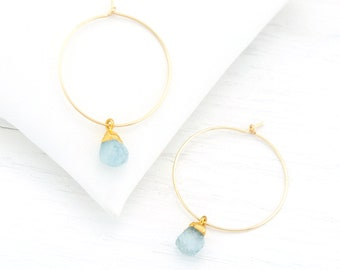 Aquamarine Drop Earrings, Raw Stone Hoops, Healing Crystal Jewelry, Bridesmaid Gift, Genuine Gemstone Earrings, Dainty Hoop Earrings, HP-N