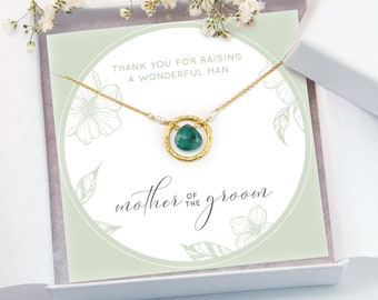 Mother of the Groom Gift Necklace, Gift From Son, Raw Emerald Pendant, Gemstone Necklace, Gift for Her, Custom Wedding Jewelry