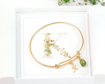 Custom Initial and Birthstone Bracelet, Christmas Gift Under 50, Gift for Girlfriend, Gift for Daughter, Gold Bangle, Personalized Monogram