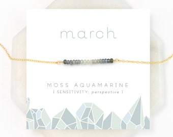 Moss Aquamarine Ombre Necklace, March Birthstone Necklace, Gemstone Bar Necklace, Personalized Birthday Gift, Inspirational Jewelry, NK-DB