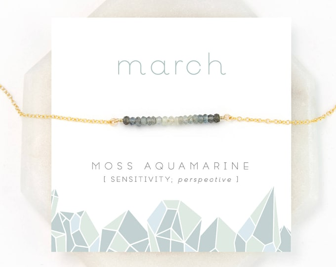 Featured listing image: Moss Aquamarine Ombre Necklace, March Birthstone Necklace, Gemstone Bar Necklace, Personalized Birthday Gift, Inspirational Jewelry, NK-DB