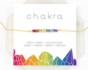 Chakra Gift Necklace, 7 Chakras Balancing Necklace, Healing Crystal, Yoga Jewelry, Chakra Stones, Rainbow Necklace, Boho Necklace,
