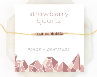 Simple Dainty Meditation Necklace, Strawberry Quartz, Pink Stone, Peace Stone, Included Quartz, Everyday Necklace, Simple Necklace, NK-DB