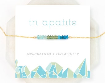 Healing Crystal Gift Necklace, Multicolor Apatite Beaded Necklace, Inspirational Gift for Her, Bridesmaid Jewelry, Rose Gold Filled, Silver