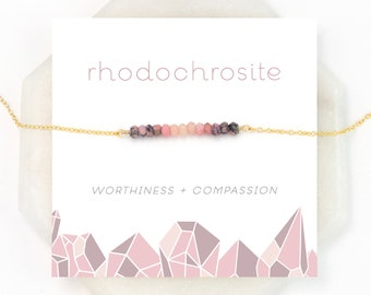 Healing Rhodochrosite Bar Necklace, Compassion Gift Necklace, Ombre Pink Gemstone Beaded Choker, Sister Gift, Simple Stone Choker, Gold Fill