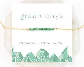 Dainty Green Onyx Necklace, Onyx Jewelry, Green Gemstone Necklace, Best Friend Gift, Chakra Stone Necklace, Beaded Bar Choker, NK-DB