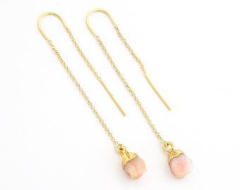 Pink Opal Earrings, Genuine Opal Threader Earrings, Dainty Chain Earrings, Peach Earrings Dangle, October Birthstone Gift, Bridal Gift, TH-N