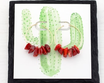 Raw Coral Earrings Gold, Rough Cut Gemstone Hoop Earrings, Beachy Jewelry, Western Jewelry, Red Statement Earrings, Funky Jewelry, HP-RC
