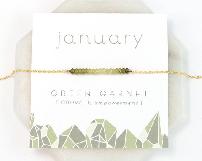 Featured listing image: January Birthstone Necklace, Green Garnet Necklace Gold, Ombre Necklace, Raw Crystal Necklace, Inspirational Gift, Personalized Gift, NK-DB
