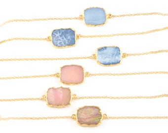 Opal Necklace Gold, Gemstone Slice Necklace, Gem Slice Choker, Pink Opal Necklace, Blue Opal Necklace, Slice Connector, Gift for Her, NK-GS