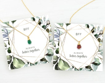 Christmas Gift BFF Necklace for 2, Dainty Pendant Necklace, Matching Friendship Necklace, Raw Birthstone Necklaces, Long Distance, Sisters